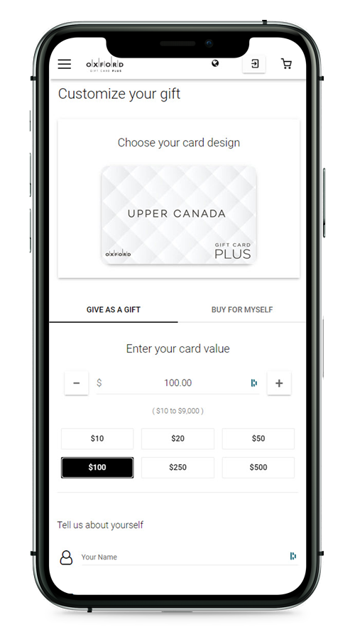 Upper Canada gift card page appearing on mobile screen.